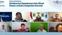 Webinar Diskusi Kebijakan: Kolaborasi Kepakaran dan Riset Dasar untuk Lompatan Inovasi, Selasa (12/1/2021), yang diselenggarakan Knowledge Sector Initiative dan Katadata. (Ist)