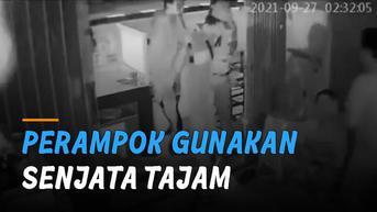 VIDEO: Gunakan Senjata Tajam, Perampok Rampas Barang Penghuni Kios Terekam CCTV