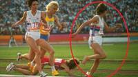 Zola Budd menyelesaikan jarak 5.000 meter dalam waktu 14 menit dan 48,07 detik -- 10 detik lebih cepat dari catatan sebelumnya (AP)