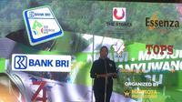 Walikota Batu, Dewanti Rumpoko saat memberikan sambutan untuk Tour d'Indonesia (Liputan6.com/Adyaksa Vidi)