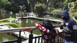 Wisatawan mengamati burung pelikan di Taman Margasatwa Ragunan, Jakarta Selatan, Sabtu (26/12/2020). Kawasan Ragunan pada libur panjang Natal 2020 ini terpantau cukup ramai meski tak seramai di hari sebelum Covid-19 merebak di Indonesia ini. (Liputan6.com/Herman Zakharia)