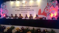 Jajaran direksi Telkom saat paparan publik Rapat Umum Pemegang Saham Tahunan (RUPST) di Hotel Indonesia Kempinski, Jakarta, Jumat (22/4/2016).