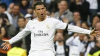Foto Cristiano Ronaldo selebrasi gol di ajang Liga Champions 2015
