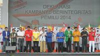 Para Ketua partai politik membacakan Deklarasi kampanye damai (Liputan6.com/Herman Zakharia)