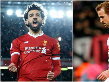 Berikut ini top scorer sementara Premier League musim 2017/2018 hingga pekan ke-31. Mohamed Salah menempati posisi teratas dengan 28 gol. (Kolase foto-foto AFP)