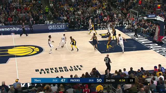 Berita video game recap NBA 2017-2018 antara Indiana Pacers melawan Philadelphia 76ers dengan skor 100-92.