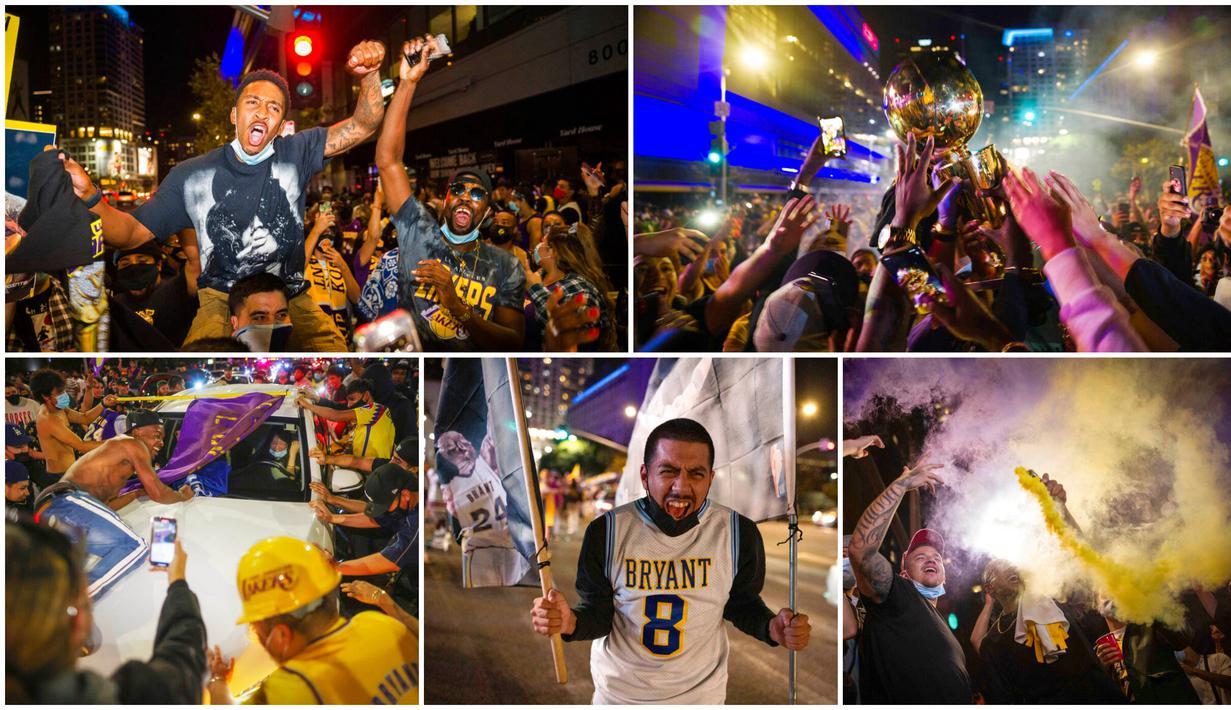 Para fans LA Lakers larut dalam suka cita saat merayakan gelar juara NBA 2020. Mereka tumpah ruah di jalanan Los Angeles, Amerika Serikat.