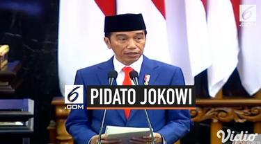 Presiden Jokowi menyampaikan Nota Keuangan dan RAPBN 2020 di Gedung DPR, Jakarta, Jumat (16/8/2019). Dalam pidatonya, Jokowi memamerkan angka pengangguran yang turun dan angka kemiskinan terendah dalam sejarah.