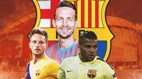 Barcelona - Ivan Rakitic, Luuk de Jong, Dani Alves (Bola.com/Adreanus Titus)