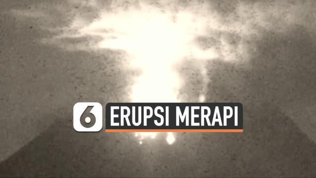 Erupsi Gunung Merapi kembali terlihat hingga Selasa (16/2) dini hari. Lava pijar meluncur hingga jarak 800 meter.