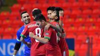 Sauqy Saud merayakan gol yang dicetaknya bersama rekan setim saat Timnas Futsal Indonesia U-20 mengalahkan Taiwan 6-2 dalam laga lanjutan Grup B Piala Asia Futsal U-20 di Huamark Indoor Stadium, Bangkok, Rabu (17/5/2017). (AFC)