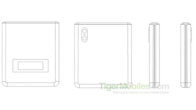 Xiaomi daftarkan paten smartphone mirip Motorola Razr. (Doc: Tiger Mobiles)