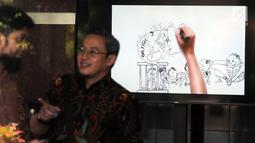 Sebuah layar monitor karikatur pemberantasan korupsi yang terpasang di lobi Gedung KPK, Jakarta, Selasa (20/3). Karikatur tersebut sebagai contoh proses pencegahan korupsi sejak dini. (Merdeka.com/Dwi Narwoko)