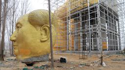 Patung kepala Presiden pertama Cina, Mao Zedong ditempatkan di tanah saat proses penyelesaian pembangunannya di ladang Desa Tongxu, Henan, Cina (4/1). Menurut warga, patung tersebut menghabiskan sekitar USD 460.000 atau Rp 6,4 miliar. (Reuters/Stringer)