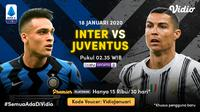 Live streaming big match Liga Italia, Inter Milan vs Juventus, Senin (18/1/2021) pukul 02.35 WIB dapat disaksikan melalui platform Vidio. (Dok. Vidio)