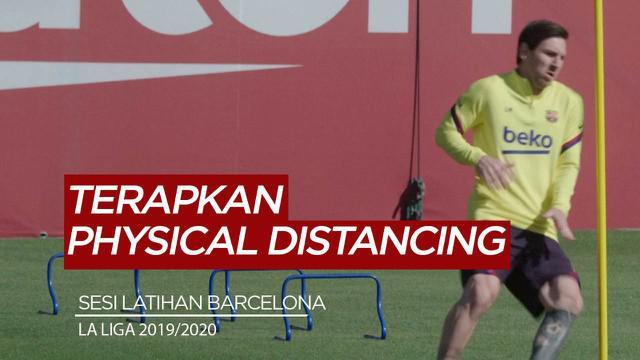 Berita Video Lionel Messi dan para pemain Barcelona terapkan physical distancing saat sesi latihan