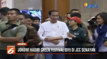 Hadiri Green Festival 2019, Presiden Jokowi berharap kaum milenial tingkatkan kepedlian terhadap gaya hidup ramah lingkungan.