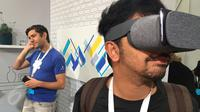 Sensasi merasakan VR dalam Daydream Google yang diperlihatkan pada Google I/O 2017. Liputan6.com/Jeko Iqbal Reza