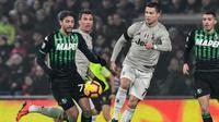 Cristiano Ronaldo mencetak satu gol saat mengalahkan Sassuolo dalam laga lanjutan Serie A di Stadion Mapei, Senin (11/2/2019) dini hari WIB. (Miguel MEDINA / AFP)
