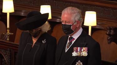 Pangeran Charles dan Duchess Camilla di pemakaman Pangeran Philip.