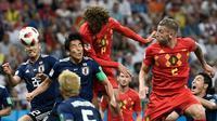 Timnas Belgia bermain 2-2 kontra Jepang sepanjang 90 menit fase 16 besar Piala Dunia 2018, di Rostov Arena, Senin (2/7/2018) waktu setempat. Skor imbang membuat laga berlanjut ke perpanjang waktu. (AFP/Filippo Monteforte)