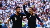 Selebrasi Antoine Griezmann (no 7) saat Prancis bertemu Argentina di 16 besar Piala Dunia 2018 (AFP)