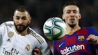 Bek Barcelona, Clement Lenglet, berebut bola dengan striker Real Madrid, Karim Benzema, pada laga La Liga 2019 di Stadion Camp Nou, Rabu (18/12). Kedua tim bermain imbang 0-0. (AP/Joan Monfort)