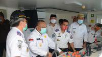 Pemerintah Provinsi Gorontalo meninjau langsung kesiapan Kapal Motor (KM) Sabuk Nusantara 113 (Arfandi Ibrahim/Liputan6.com)