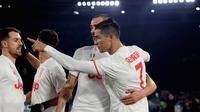 Skuat Juventus merayakan gol yang dicetak Cristiano Ronaldo ke gawang AS Roma. (Dok. UEFA Champions League)