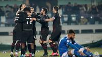 Para pemain AC Milan merayakan gol Ante Rebic ke gawang Brescia dalam pertandingan lanjutan Liga Italia Serie A, Sabtu (25/1/2020) dini hari WIB (Foto: AC Milan)