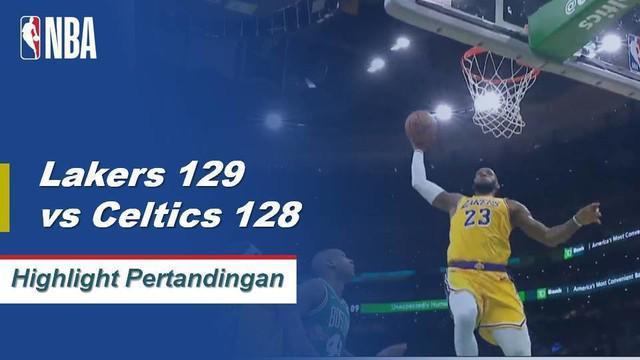 LeBron James membuat triple-double dengan 28 poin, 12 rebound, dan 12 assist saat Los Angeles mengalahkan Boston.