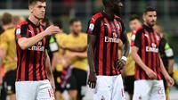 Krzysztof Piatek dan rekan-rekannya kembali gagal mempersembahkan kemenangan untuk AC Milan. (AFP/Miguel Medina)