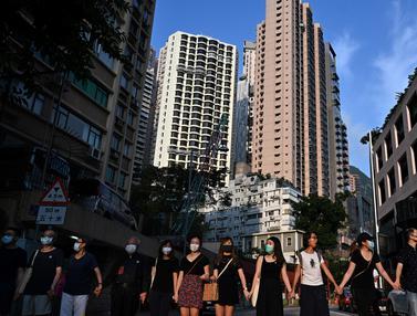 Siswa di Hong Kong Bentuk Rantai Manusia