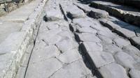 Lewatnya kereta kuda selama beberapa dekade dapat menyebabkan bekas roda (seperti yang diperlihatkan di sini), khususnya di daerah yang lalu lintasnya tinggi di Pompeii. (Eric Poehler/University of Massachusetts Amherst)