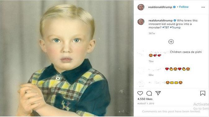 Gambar Tangkapan Layar Foto dari Akun Instagram @realdonaldtrump