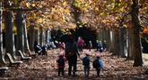 Seorang wanita bersama tiga anaknya berjalan di bawah dedaunan musim gugur ketika mereka menikmati cuaca di Gyoen Park di Tokyo (5/12/2019). Taman Nasional Shinjuku Gyoen adalah sebuah taman yang besar di area Shinjuku dan Shibuya, Tokyo, Jepang. (AFP/Charly Triballeau)