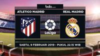 Jadwal La Liga 2018-2019 pekan ke-23, Atletico Madrid vs Real Madrid. (Bola.com/Dody Iryawan)