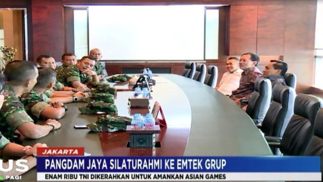 Dalam pertemuan dengan pimpinan Emtek Grup, Pangdam Jaya menuturkan sejumlah kesiapan pengamanan jelang Asian Games 2018.