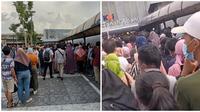 Warga padati stasiun Tanah Abang hingga berdesakan, jadi sorotan netizen. 9Sumber: Twitter/@cantonaisme/@SumarihKomandan)
