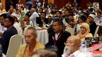 Suansana silaturahmi mantan napi dengan korban terorisme yang digelar BNPT di Jakarta, Rabu (28/2). Acara bertema 'Silaturahmi Kebangsaan Negara Kesatuan Republik Indonesia (Satukan NKRI)'. (Liputan6.com/JohanTallo)