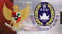 Logo PSSI dan Timnas Indonesia. (Bola.com/Dody Iryawan)