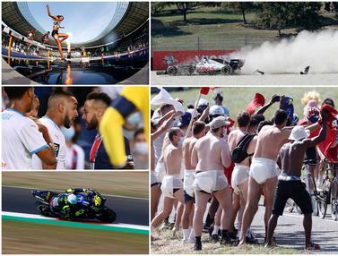 Foto Olahraga Terbaik Pilihan Redaksi Bola.com, Tabrakan di Formula 1 hingga Serunya Tour de France