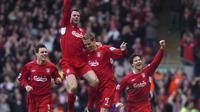 3. Liverpool - Terakhir kali The Reds merasakan juara Liga Champions kala mendapatkan malam magis melawan AC Milan pada tahun 2005. Liverpool sudah lima kali merasakan juara final piala kuping tersebut. (AFP/Paul Barker)