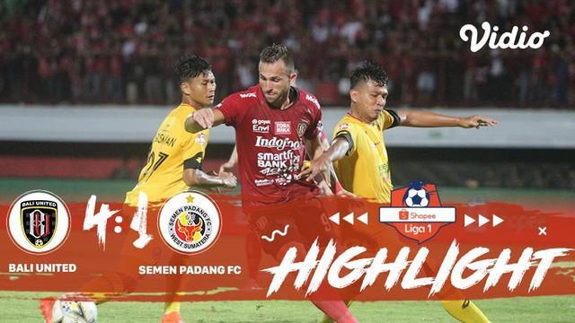 Berita video highlights Shopee Liga 1 2019 antara Bali United melawan Semen Padang yang berakhir dengan skor 4-1, Jumat (9/8/2019).