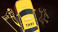 Ilustrasi pembunuhan sopir taksi online. Ilustrasi: Amin H. Al Bakki/Kriminologi.id