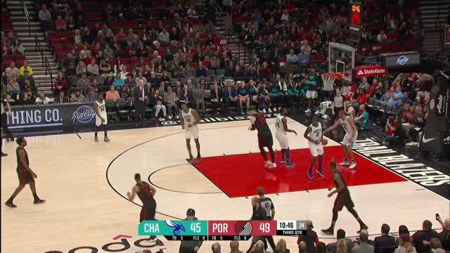Berita video game recap NBA 2017-2018 antara Portland Trail Blazers melawan Charlotte Hornets dengan skor 109-103.