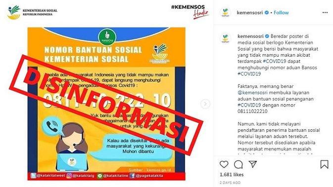 Gambar Tangkapan Layar Klarifikasi Kementerian Sosial