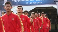 Pelatih Indra Sjafri memprediksi Kamboja U-22 tetap akan mengincar kemenangan melawan Timnas Indonesia U-22. (Bola.com/Zulfirdaus Harahap)