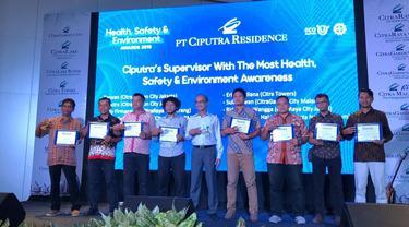 Health, Safety, and Environment (HSE) Awards 2019 yang diselenggarakan PT Ciputra Residence.