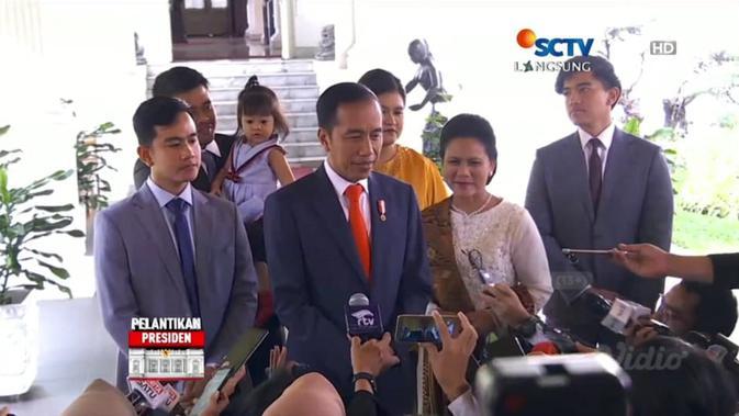 Keluarga Jokowi dalam Pelantikan Presiden 2019.  (screen capture Vidio.com)